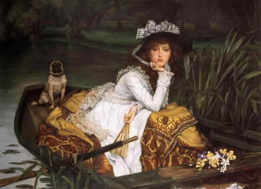 James Tissot - 'Young Lady in a Boat' 1869 {{PD}}