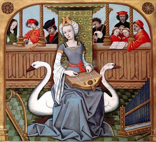 Robinet Testard, Allegory of Music or Erato in an illuminated manuscript of Echecs amoureux, ca 1496-1498 {{PD}}
