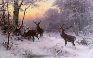 'Hirsche im Winterwald' (Deer in a Winter Forest), A. Thiele 1874 {{PD}}