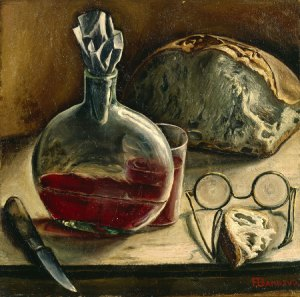 François Barraud - 'Nature morte avec carafe de vin, pain et lunettes' c1930 {{PD}}